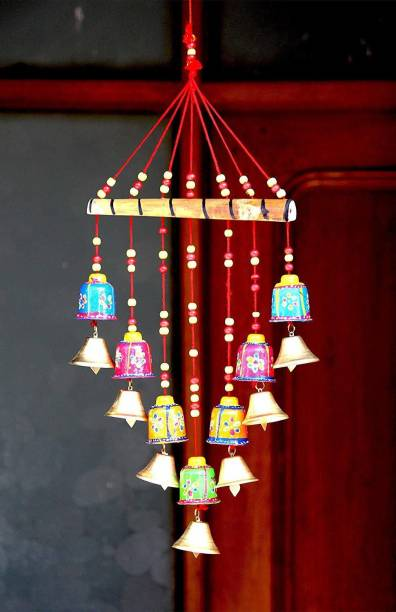 jaishreeshyamcollectionTM Beautiful Handmade Rajasthani Door Hanging Decorative Showpiece|Wind chimes home positive energy|wind chimes hanging wind bell for home decore balcony with good sound garden|wind chimes for home|home décor showpiece|Decorative items for room|handicraftitems|wall hanging decorative items|window decoration items| Paper Windchime (19 inch, Multicolor) Wood Windchime