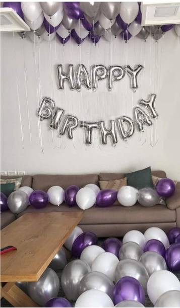 a-one suppliers Solid HAPPY BIRTHDAY FOIL BALLOONS SILVER + 50 BALLOONS PURPLE Letter Balloon