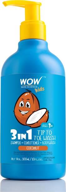WOW SKIN SCIENCE Kids 3 in 1 Head to Toe Wash - Coconut - 300 mL