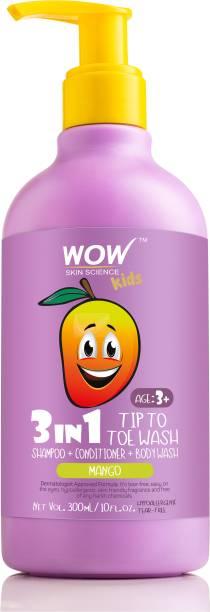WOW SKIN SCIENCE Kids 3 in 1 Head to Toe Wash - Mango - 300 mL