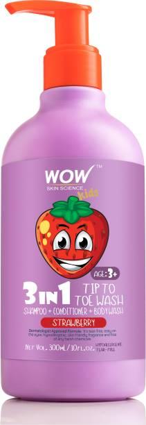 WOW SKIN SCIENCE Kids 3 in 1 Head to Toe Wash - Strawberry - 300 mL