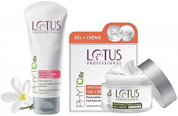 LOTUS Professional Combo Pack Phytorx Whitening & Brightening ( Gel Creme, 50 g+ Face wash 80 g )