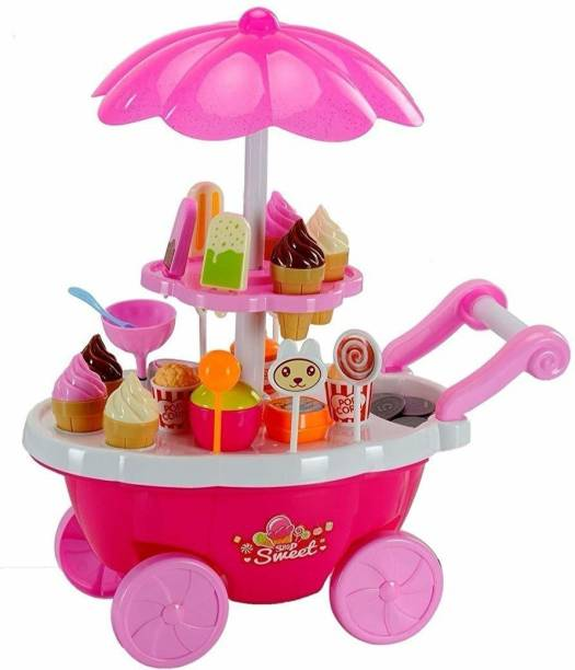 Goodluck Ice Cream set toy, Kitchen Play Cart Kitchen Set Toy with Lights and Music, Small sweet shop toy for kids