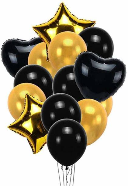 Smartcraft Solid Balloon Bouquet (Pack of 13) -Black Gold , Balloons Party Decoration Balloon