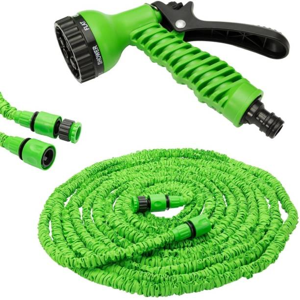 RAJIPO 50 ft pipe Hose Pipe Nozzle for Garden Wash Car Bike with Spray Gun and 7 Adjustable Modes Magic Flexible Water Hose Plastic Hoses Pipe with Spray Gun to Watering Washing Cars. Hose Pipe