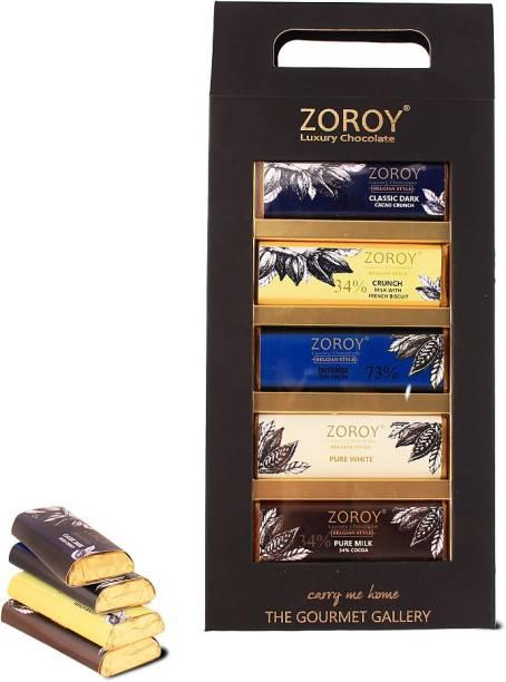 Zoroy Luxury Chocolate 5 Belgian Bar set The Gourmet Gallery gift box Bars