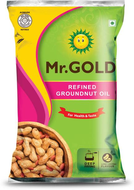 Mr. Gold Refined Groundnut 1 Ltr Groundnut Oil Pouch