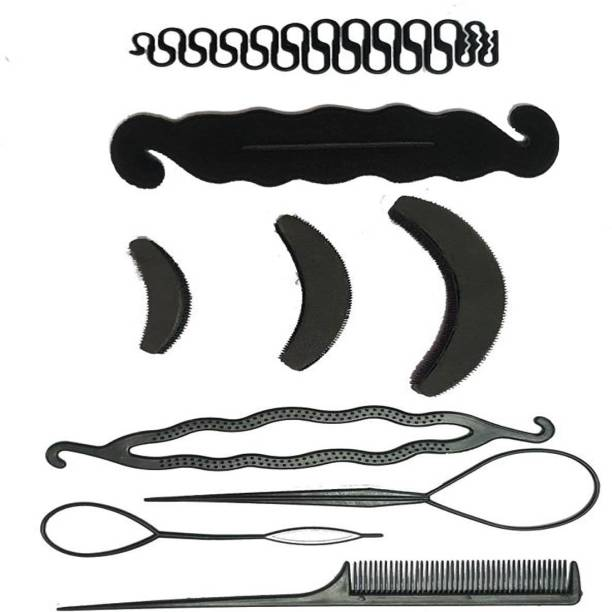 BELLA HARARO 9 Pc. set Braid Maker Puff Bumpit Hair Styling Combo Hair Accessory Set Hair Accessory Set