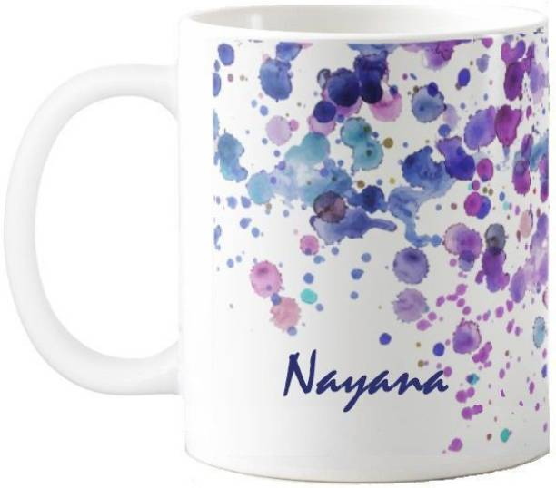 Exoctic Silver Nayana Water Color Print Gift 50 Ceramic Coffee Mug