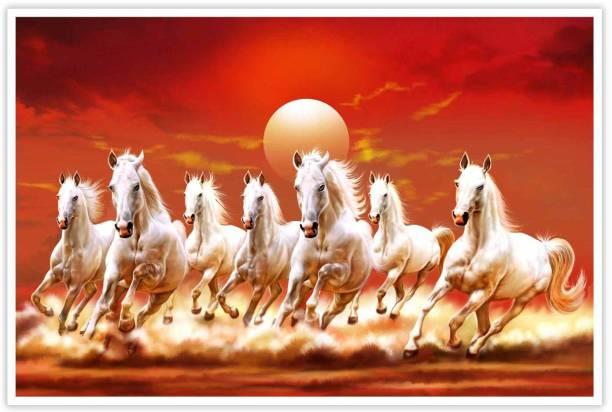 Beautiful Seven Horses Running Vastu Paper Poster Paper Print