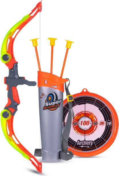 Wishkey Sports Super Archery Bow And Arrow Set For Kids With Dart Target Board, Colourful With 3 Suction Cup Tip Arrows Bows & Arrows