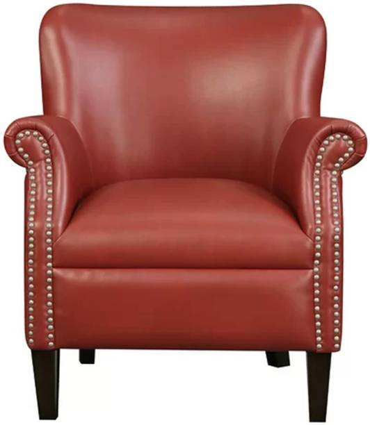 Lakdi Fully Cushioned Single Seater Sofa Cum Lounge Chair Leatherette Living Room Chair