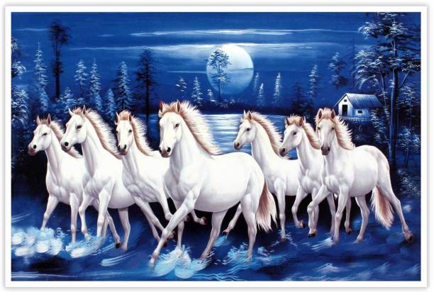Seven Horses Running in blue moon light Paper Poster Paper Print