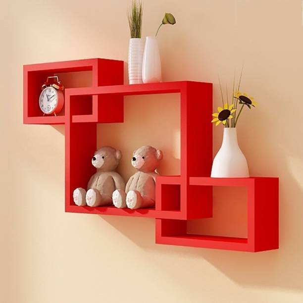 RAG Solutions RAG Solutions Wall Shelf Rack Set of 3 Intersecting Wall Shelves -Red ( Multicolor) Wooden Wall Shelf