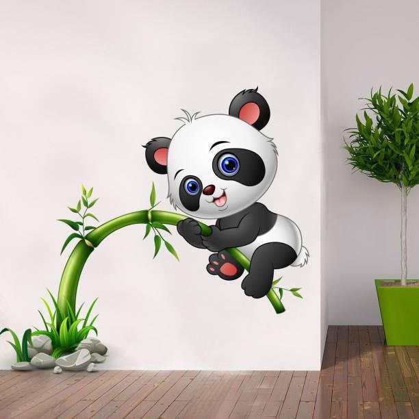 Pixel Print Large Baby Panda Playing on Tree Wall Sticker