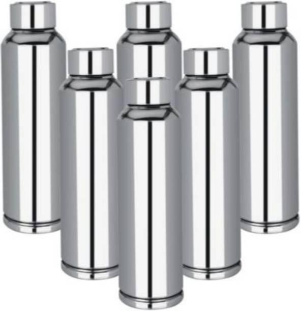 Apeiron Stainless Steel Fridge Water Bottle Silver (Pack of 6) 1000 ml Bottle