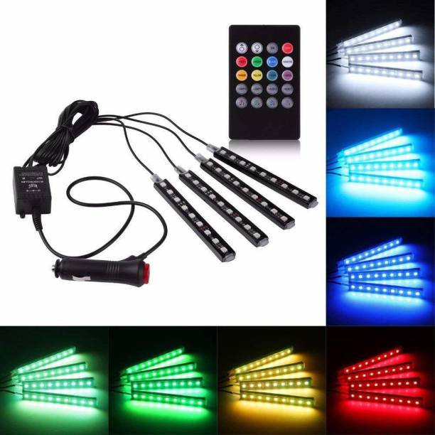 AutoPowerz Set of 4 9 LED RGB Multi-Colour Strip Car Atmosphere Light with Music Controller and Remote for All Cars Car Fancy Lights