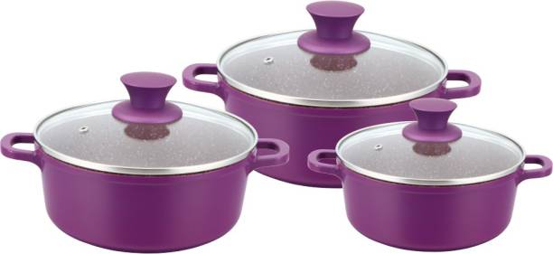 WONDERCHEF Granite Die-Cast Pack of 3 Cook and Serve Casserole Set