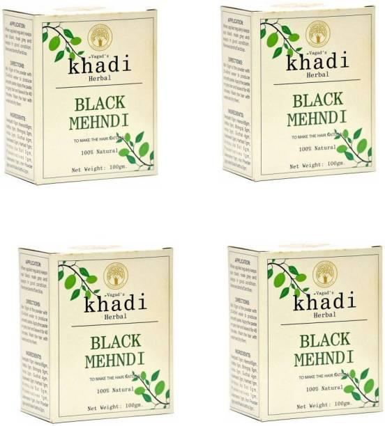 vagad's khadi 100% Herbal Hair Color Black (Pack of 4) Natural Mehendi