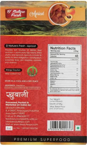 D NATURE FRESH Dried APRICOT 250 gm Apricots