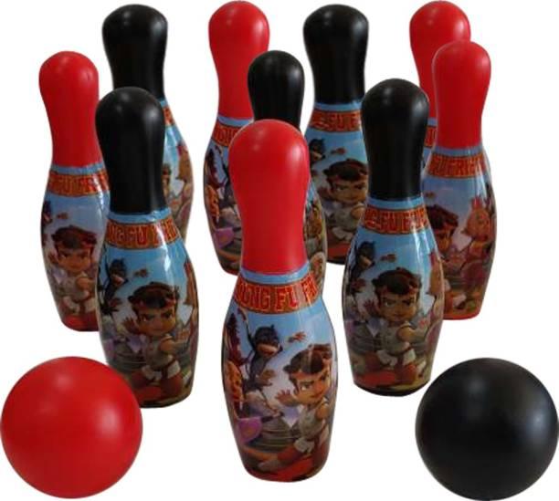 Chhota Bheem Kung Fu Bheem 10 Pins/2 Balls Bowling Set For Kids Bowling