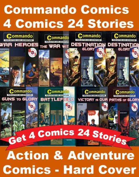 Commando Comics Action And Adventure Set Of 4 Comics And 24 Stories : Commando Comics Complete Set   English Comics   War Comics   Action And Adventure Comics   Hard Cover Comics