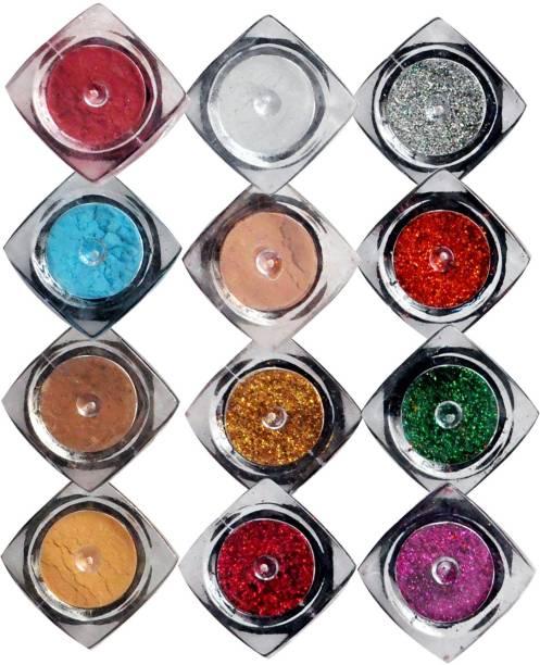 VOZWA Shining Shimmer Powder and Sparkles Glitter Powder (Pack of 12 Pcs)