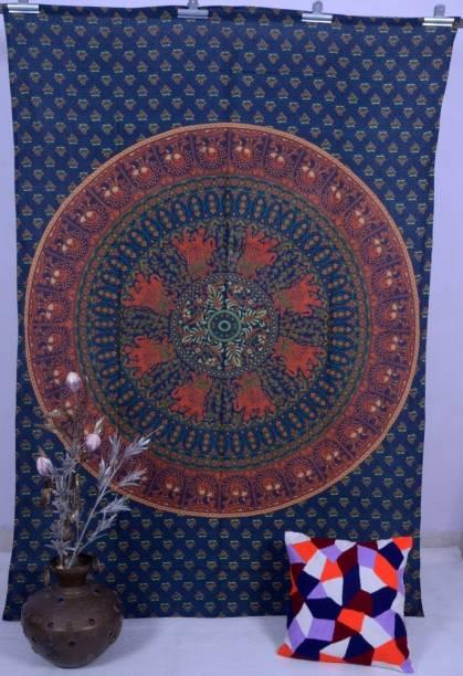 Handicraft-Palace Elephant Ombre Mandala Printed Single Size Tapestry Art Tapestry