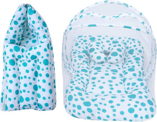 Miss & Chief Baby Combo Of Mattress With Mosquito Net & Sleeping Bag Baby Bed & Sleeping Bag Polycotton Circle Print