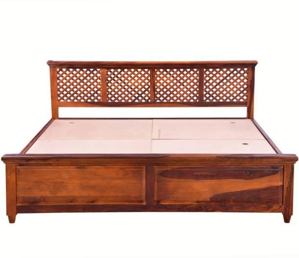 Balaji Wooden Sheesham Wood Solid Wood King Box Bed