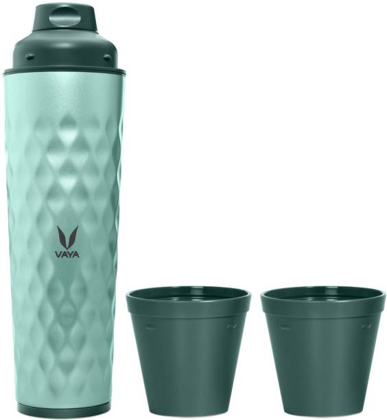 Vaya Drynk Green Insulated Stainless Steel Thermos Flask with Gulper Lid & 2 Cups - 600 ml Flask
