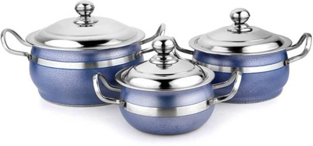Mahavir Mahavir Stainless Steel 3pc Cook and Serve Color Handi Set with 600ml,1000ml,2000ml Capacity Pack of 3 Serve Casserole Set