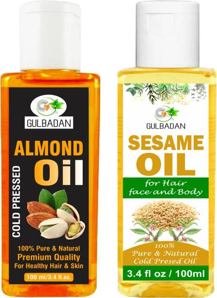GULBADAN 100% Pure Almond Oil & Sesame Oil For Hair Growth And Skin Care Oil (Pack of 2) Hair Oil