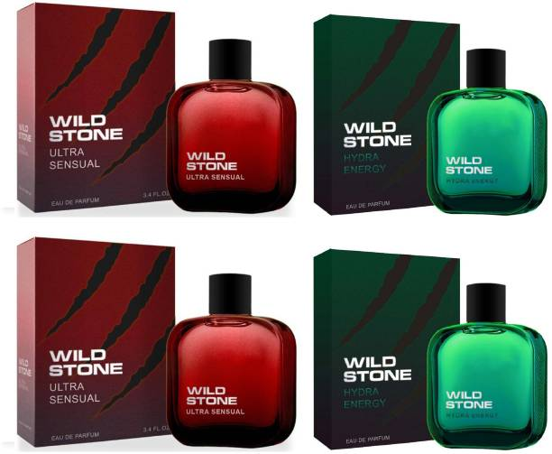 Wild Stone 2 Ultra Sensual and 2 Hydra Energy EDP Perfume 50ml Each (Pack of 4) Eau de Parfum  -  200 ml
