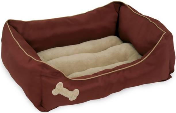 Slatters Be Royal Store ROUND shape Reversable Brown SOFA Ultra Soft Ethnic Velvet DOG BED for Pet/Cat XL Pet Bed