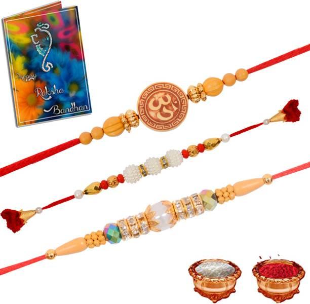 Gift4You Religious Rakhi, Greeting Card, Chawal Roli Pack  Set