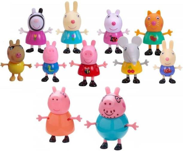 AncientKart Pig and Friends Moving Dolls Set of 11 (3-4 inch)