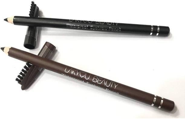 lakyou beauty Waterproof Eyebrow Pencil Black and Dark Brown
