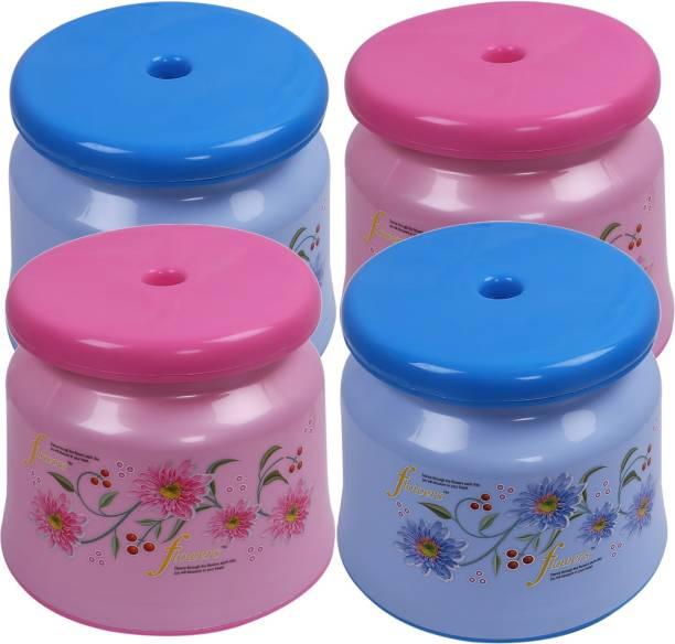 KUBER INDUSTRIES Plastic 4 Pieces Bathroom Stool/Patla (Pink & Blue) -CTLTC10842 Bathroom Stool