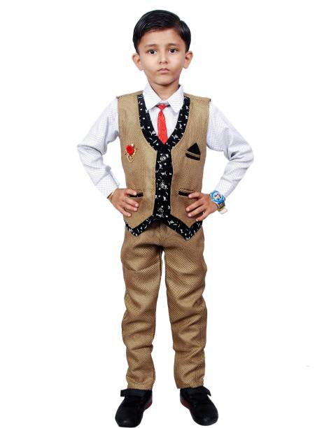 NVH Boys Festive & Party, Formal, Casual, Wedding Shirt, Waistcoat and Pant Set