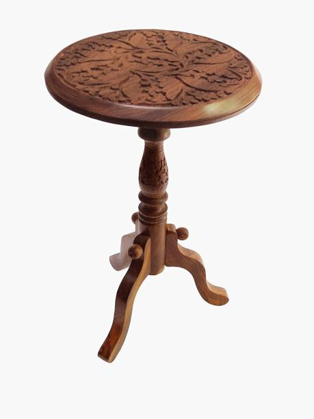 UniqueKrafts Handmade Wooden Fully Hand-carved Piller Stool Brown Color Easily Fold-able Decorative 12 Inch. Solid Wood Corner Table