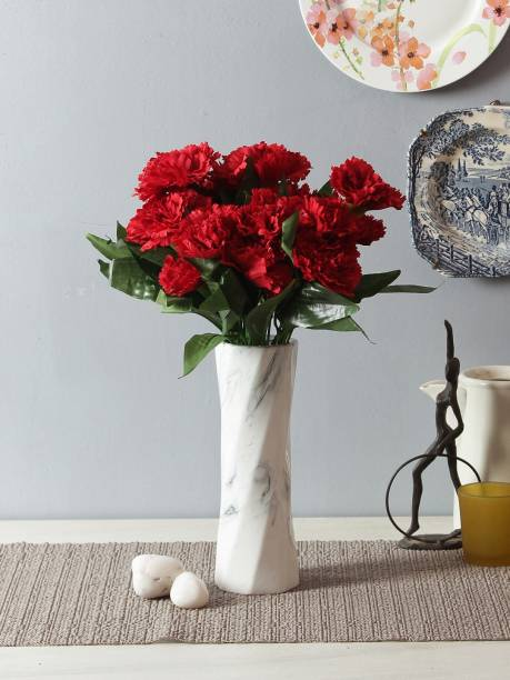 FOURWALLS Artificial Decorative Carnation Flower Bunch with 7 Heads (36 cm Tall, Red, Set of 3) Red Carnations Artificial Flower