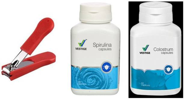 Vestige Spirulina and Colostrum with nail cutter