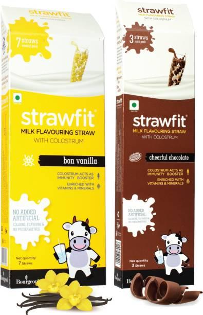 Strawfit Vanilla & Chocolate Milk Flavoring Straw with Colostrum,