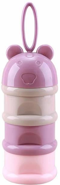 SYGA 3 Layer Cute Bear Portable Baby Food Milk Powder Storage Box Bottle Container_Purple