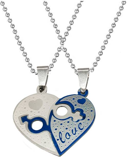 Shiv Jagdamba Valentine Day Gift I Love You Broken Heart Couple Locket With 2 Chain His Her Lover Gift Stainless Steel Pendant