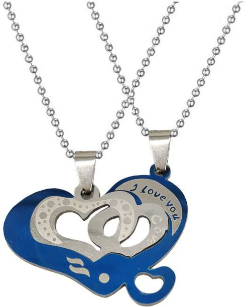 Shiv Jagdamba Valentine Day Gift Dual Heart I Love You Couple Locket With 2 Chain His Her Lover Gift Stainless Steel Pendant