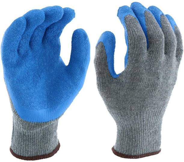 SS & WW Yellow Cotton Knitted with Blue Hand Gloves Latex  Safety Gloves