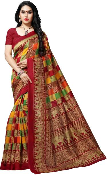Anand SAREES Printed, Paisley, Animal Print, Floral Print, Checkered Bhagalpuri Silk Blend Saree
