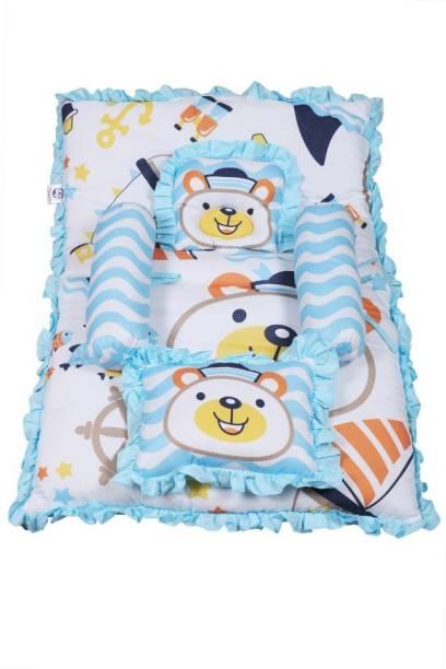 Smartcraft baby Mattress with bolster and two pillows Sailor Bear Print - Blue Standard Sailor Bear Print